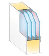 Querschnitt-Skizze einer Haustür mit 4-fach Verglasung für effektiven Wärmeschutz